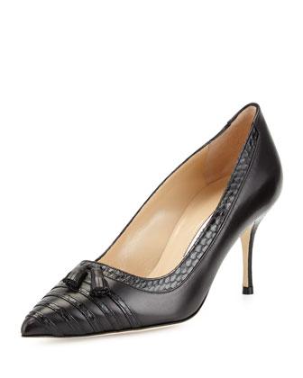 Leffino Tassel Leather & Snake Pump, Black