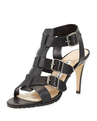 Pidigi Leather Triple-Buckle Sandal, Black