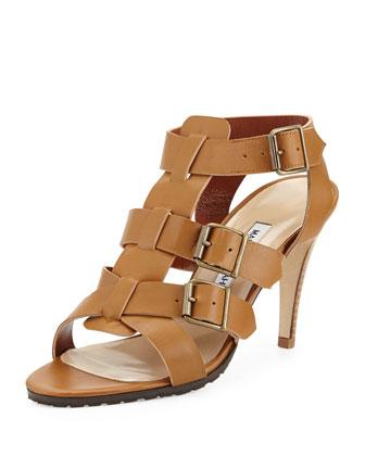 Pidigi Leather Triple-Buckle Sandal, Medium Brown