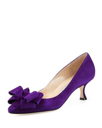 Lisanewbo Suede Low-Heel Bow Pump, Purple