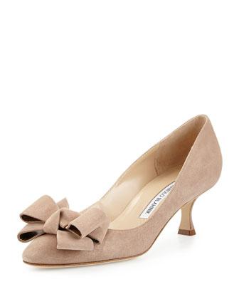 Lisanewbo Suede Low-Heel Bow Pump, Beige