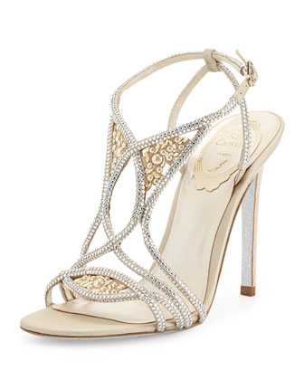 Crystallized Pearly Satin Sandal