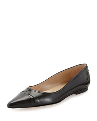 Dastiflat Leather Patchwork Flat, Black