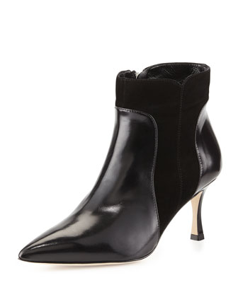 Somma Mixed-Leather Ankle Boot, Black