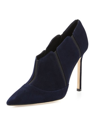 Desolada Stretch-Inset Suede Ankle Boot, Navy