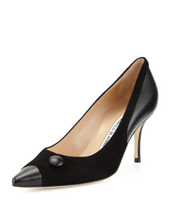 Ectio Buttoned Point-Toe Pump, Black