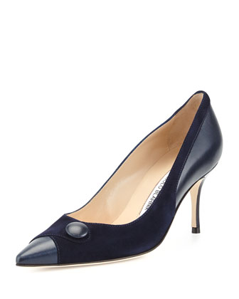 Ectio Buttoned Point-Toe Pump, Navy