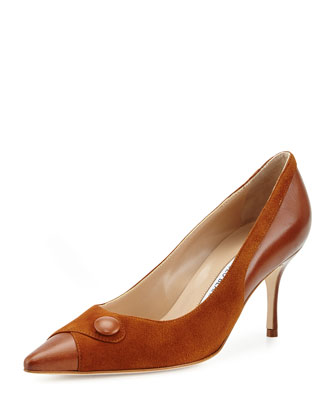 Ectio Buttoned Point-Toe Pump, Medium Brown