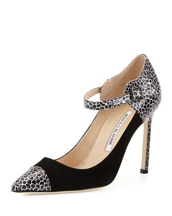 Flancocap Suede & Snake Ankle-Strap Pump, Black/White