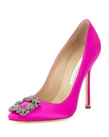 Hangisi Satin Crystal-Toe Pump, Hot Pink