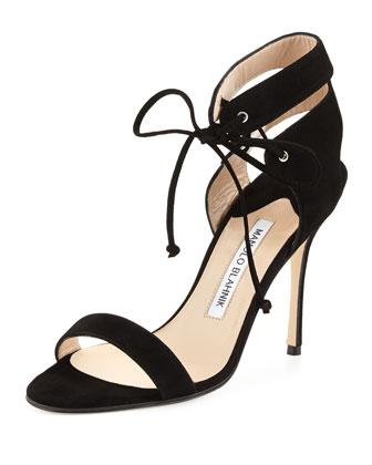 Laramod Suede Ankle-Wrap Sandal, Black