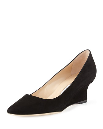 Tittowed Suede Wedge Pump, Black