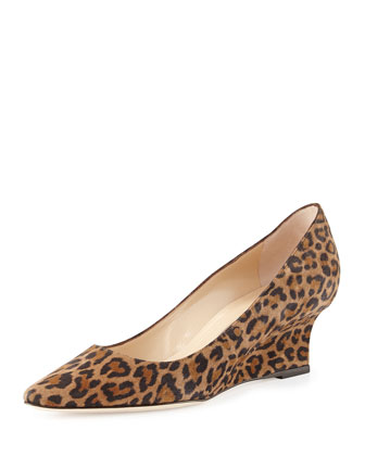 Tittowed Leopard-Print Wedge Pump