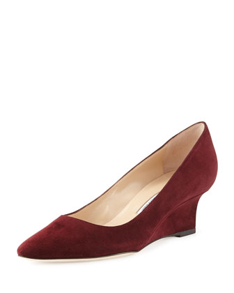 Tittowed Suede Wedge Pump, Burgundy