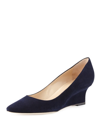 Tittowed Suede Wedge Pump, Navy