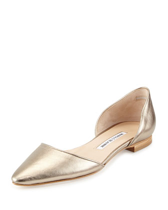 Soussaba Metallic Pointed-Toe Flat, Gold