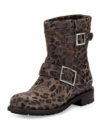 Youth Leopard-Print Short Boot, Gray