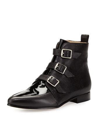 Marlin Buckled Mixed-Leather Ankle Boot, Black
