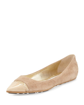 Ginny Pointed-Toe Combo Flat, Neutral