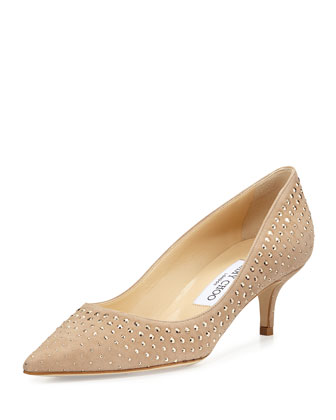 Aza Studded Suede Pump, Neutral