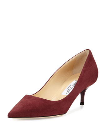 Aza Suede Pointed-Toe Pump, Burgundy