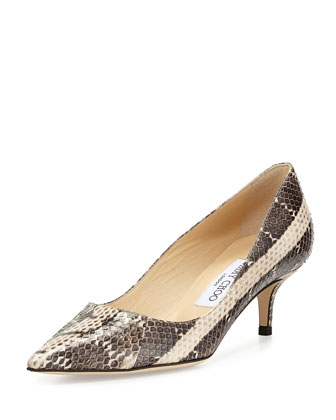 Aza Snake Pointed-Toe Pump, Cream