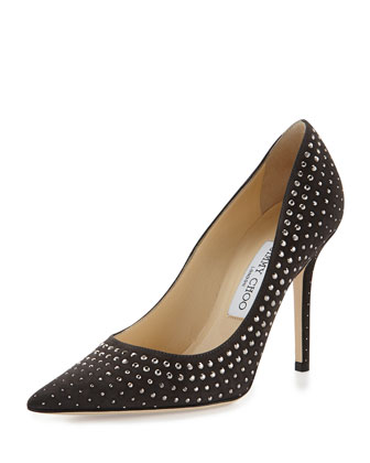 Abel Studded Suede Pump, Gray