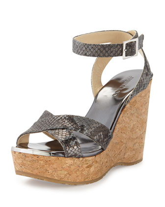 Papyrus Snake-Print Cork Wedge, Anthracite