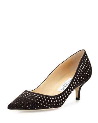 Aza Studded Suede Pump, Gray