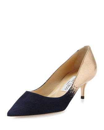 Aza Degrade Suede Pump, Navy