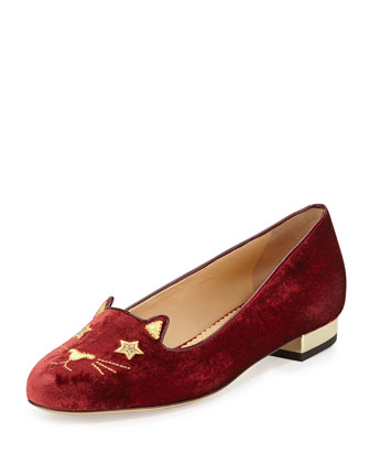 Superstar Velvet Kitty Slipper, Burgundy