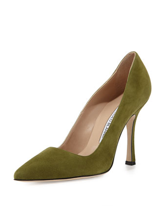 BB Suede Point-Toe Pump, Green