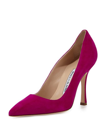 BB Suede Point-Toe Pump, Fuchsia