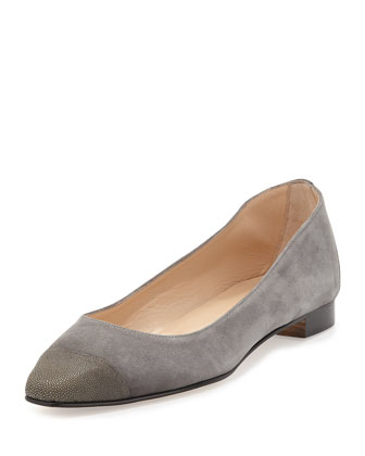 Leecap Printed-Leather Cap-Toe Flat, Gray