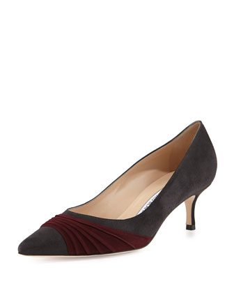 Golda Ruched Suede Pointy Pump, Gray