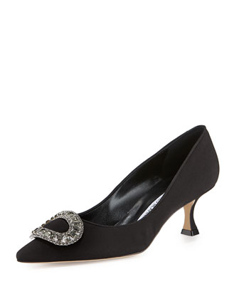 Newsi Low-Heel Crepe Evening Pump