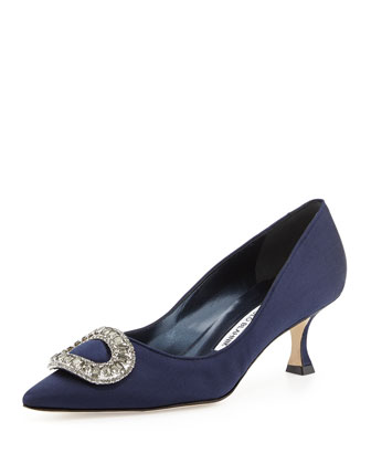 Newsi Crystal-Buckle Satin Pump, Navy