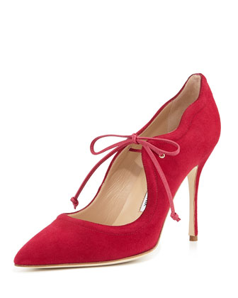 Refolada Suede Laced Point-Toe Pump, Rose