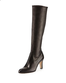 Pascaputre Leather Tall Boot, Black