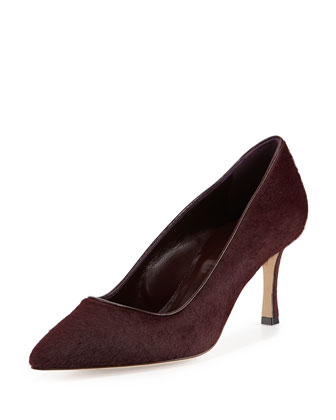 BB Calf Hair Mid-Heel Pump, Burgundy