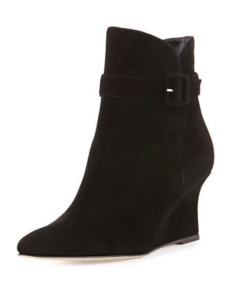 Carnin Suede Wedge Ankle Boot, Black