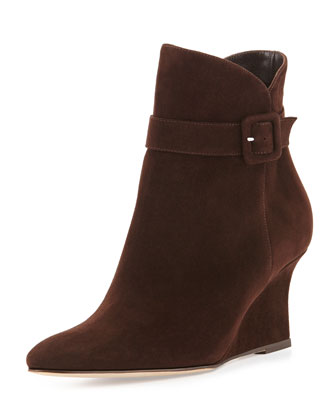 Carnin Suede Wedge Ankle Boot, Brown
