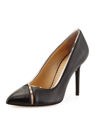 Natalie Leather Crisscross Pump, Black