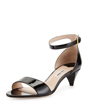 Patent Kitten-Heel Ankle-Strap Sandal