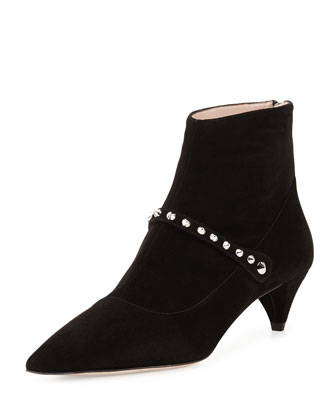Suede Studded-Strap Ankle Boot