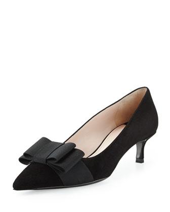 Suede Low-Heel Bow Pump, Black