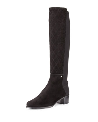 Guard Quilted Suede Tall Boot, Black