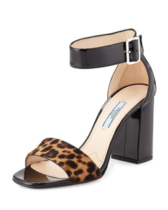 Patent and Cavallino Fur Block Sandal