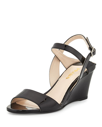 Patent Wedge Ankle-Strap Sandal
