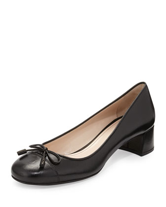 Cap-Toe Block-Heel Bow Pump, Black